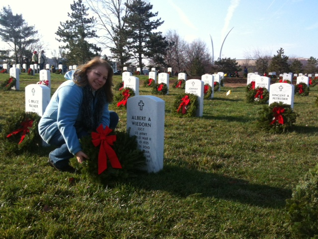 Niece Lisa places wreath in Arlington, December 2011